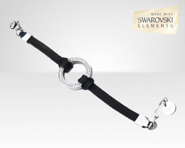 Bracelete de Couro com Swarovski Elements®