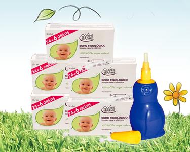 Kit Limpeza bebé | Aspirador Nasal & 150 Doses de Soro Fisiológico