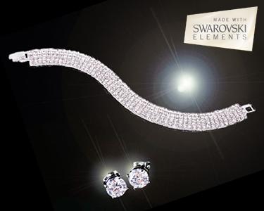 Swarovski Elements® | Conjunto de Pulseira e Brincos