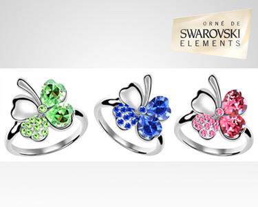 Anéis Trevo Swarovski Elements®   Banhados a Ouro Branco 18K