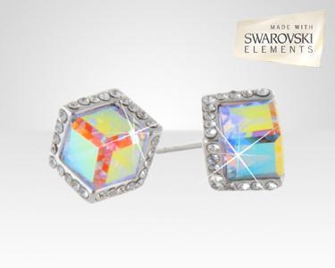 Brincos Cubo Swarovski Elements® | Banhados a Ouro Branco 18K