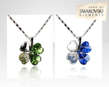 Fio Trevo Azul ou Verde Swarovski Elements® | Banhados a Ouro Branco