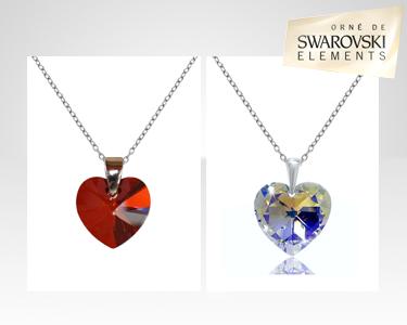 Fios com Coração Swarovski Elements® | Banhados a Prata de Lei