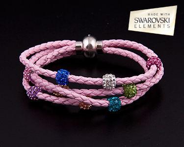 Pulseira de Pele Shamballa Swarovski Elements® - 3 cores à escolha