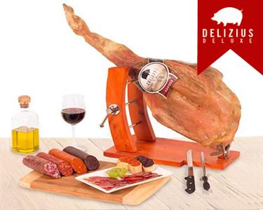 Cabaz Gourmet | Paleta Serrana, Enchidos, Suporte, Faca e Afiador