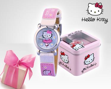 Relógio Hello Kitty com Caixa de Metal