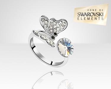 Anel Borboleta Swarovski Elements® | Banhado a Ouro Branco 18K