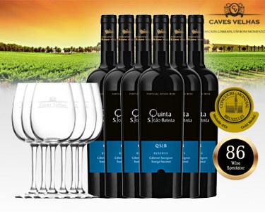 Pack 6 Garrafas de Vinho Qta. S. João Batista & 6 Copos Caves Velhas