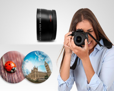 Lente Grande Angular e Macro para Objetivas Canon 58mm e Nikon 52mm