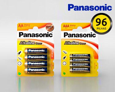 96 Pilhas Alcalinas Panasonic®   Escolha AA ou AAA