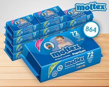 864 Toalhitas Moltex® Premium | Para a Pele Sensível do Bebé