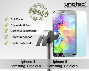 Protector de Ecrã Cristal Temperado Samsung S4, S5, iPhone 4/4S e 5