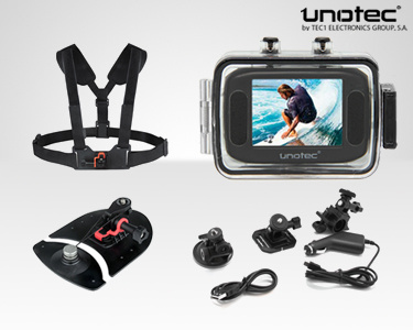 Câmara de Vídeo Unotec XTR Sports | Opção Suporte para Surf ou Running