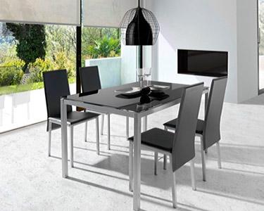 Mesa de Jantar e 4 Cadeiras | Preto ou Branco