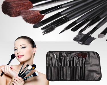 Set 12 Pincéis de Maquilhagem com Pelo Natural e Estojo