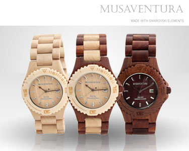Relógio de Madeira com Cristais Swarovski Elements® | Escolha o Modelo