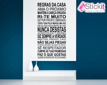 Vinil Personalizado 'Regras da Casa' 17 Frases c/ 50cm | Crie as Suas