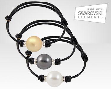 New Look | Pulseiras em Couro Italiano com Pérolas Swarovski Elements®