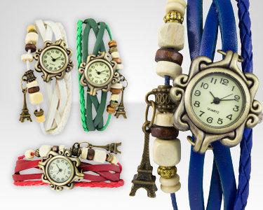 Relógio Vintage Paris com Pulseira de Couro