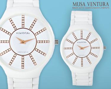 Relógio 100% Cerâmico com Cristais Swarovski Elements®