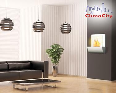 BioLareira de Parede ClimaCity | Elegância & Conforto na sua Casa