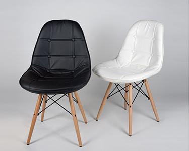 Cadeira Tower Wood em Couro Sintético | Preto ou Branco