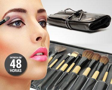 Kit Profissional 24 Pincéis de Maquilhagem com Estojo