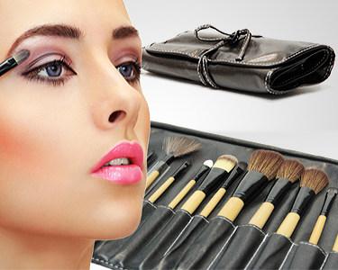 Kit Profissional de 24 Pincéis de Maquilhagem com Estojo