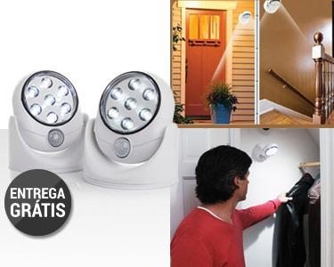Dois Focos de Luz LED com Sensor de Movimento | Rotação de 360º