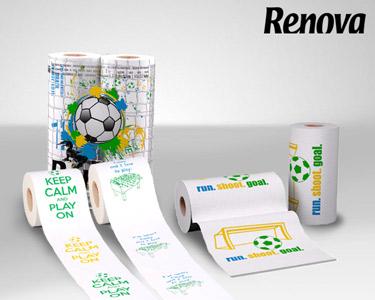 Renova® Design Futebol | Papel Higiénico + Rolos de Cozinha