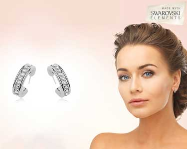 Brincos Swarovski Elements® banhados a Ouro Branco