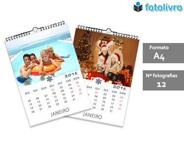 Calendário 2016 Personalizado com 12 Fotos | Formato A4 com Argolas