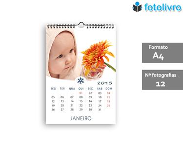 Calendário 2015 Personalizado com 12 Fotos   Formato A4 com Argolas