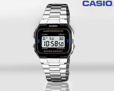Relógio Casio® | Escolha o seu! -> Escolha o modelo -> Relógio Casio® | Homem | Prateado com Mostrador Preto - A163WA-1QES