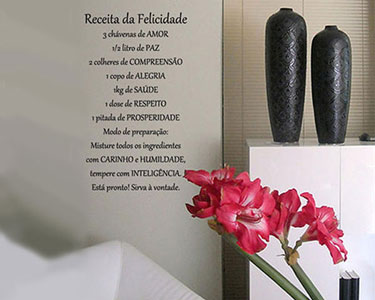 Vinil Receita da Felicidade - 56 x 100 cm