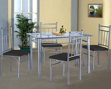 Mesa Vénus em Vidro com 4 Cadeiras | Preto ou Creme