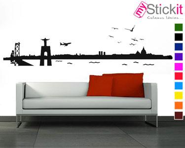 Vinil Autocolante «Skyline Lisboa» | Paisagem com Vista Rio!
