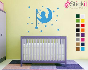 «Bebé a Pescar Estrelas na Lua» | Vinil Autocolante 70x57cm