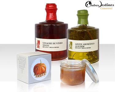 Cabaz Gourmet | Azeite Alecrim, Vinagre Tinto e Compota Abóbora c/ Noz