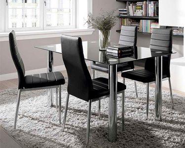 Mesa de Jantar em Vidro & 4 Cadeiras Premium