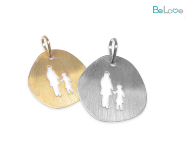 Medalha Be Love Prata ou Prata Dourada | Mãe e Menina