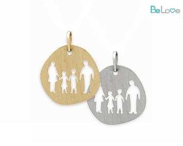 Medalha Be Love Prata ou Prata Dourada | Família Menino e Menina