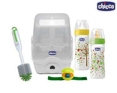 Cabaz Chicco® | Esterilizador + Biberões + Escovilhão + Porta-Chucha
