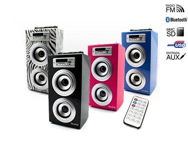 Coluna Bluetooth JoyBox | USB + Leitor Cart��o SD + Mini Jack & Rádio