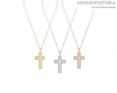Colar Cruz com Cristais Swarosvki Elements®   Escolha o Seu!