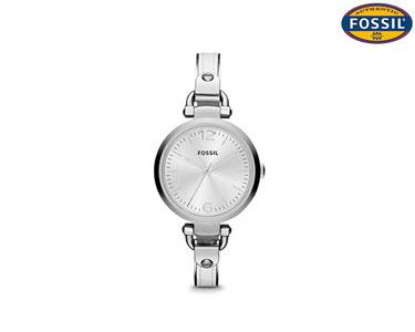 Relógio Fossil® | Prateado com Detalhes em Pele