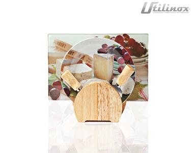 Conjunto para Queijos | Tábua de Vidro + 4 Pratos + 2 Utens��lios