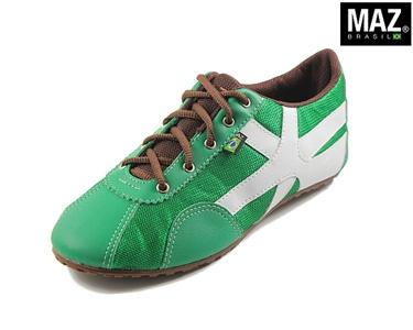 Ténis Maz® Brasil | Verde com Branco e Castanho
