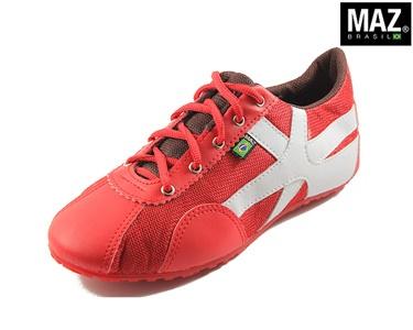 Ténis Maz® Brasil | Vermelho com Branco e Castanho