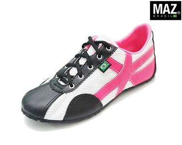 Ténis Maz® Brasil | Preto com Pink e Branco
